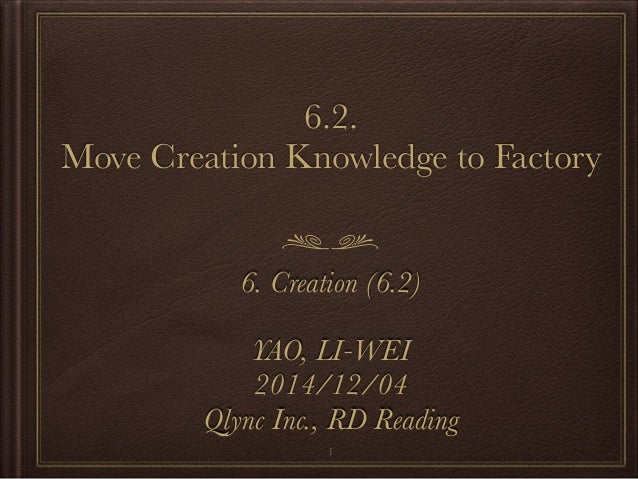 6.2.  Move Creation Knowledge to Factory  6. Creation (6.2)  YAO, LI-WEI  2014/12/04  Qlync Inc., RD Reading  1