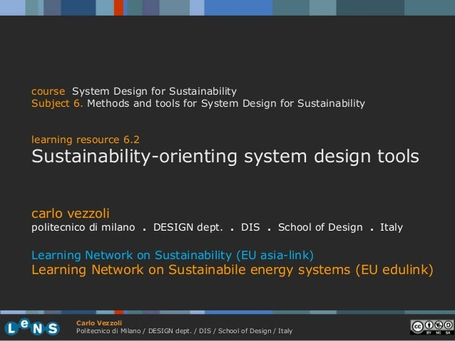 course System Design for SustainabilitySubject 6. Methods and tools for System Design for Sustainabilitylearning resource ...