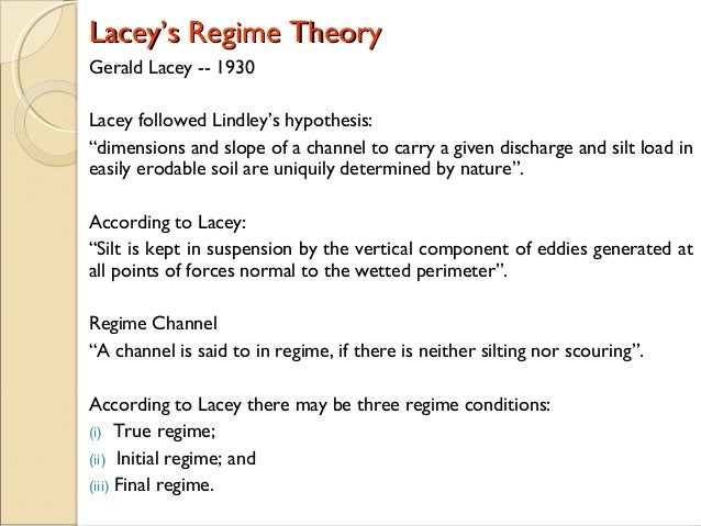 Lacey Regime Theory - Irrigation Engineering