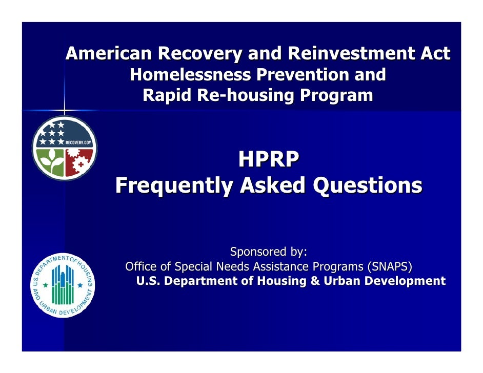 American Recovery and Reinvestment Act       Homelessness Prevention and        Rapid Re-housing Program                  ...