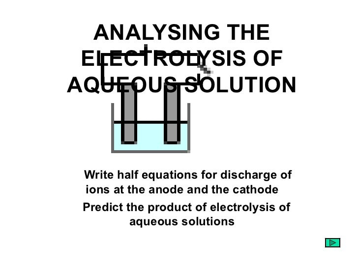 ANALYSING THE ELECTROLYSIS OF AQUEOUS SOLUTION <ul><li>Write half equations for discharge of ions at the anode and the cat...