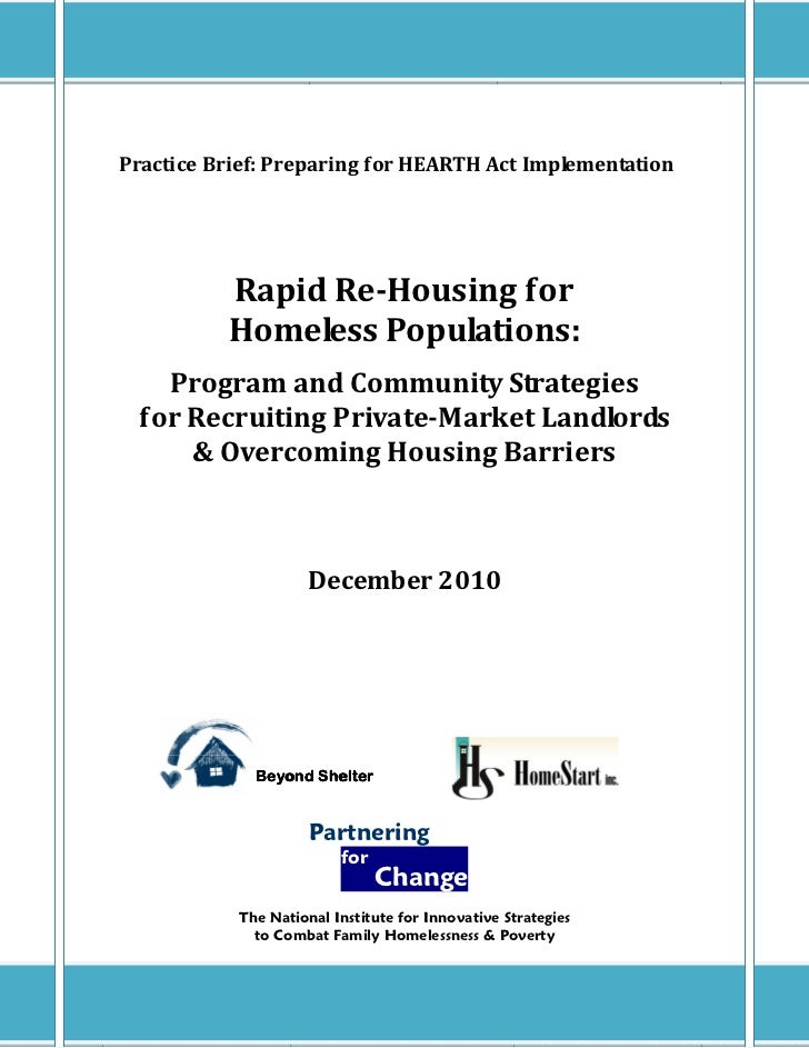Practice Brief: Preparing for HEARTH Act Implementation          Rapid Re-Housing for          Homeless Populations:   Pro...