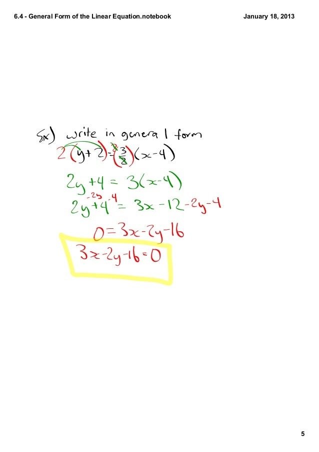 6.4 general form of the l inear equation