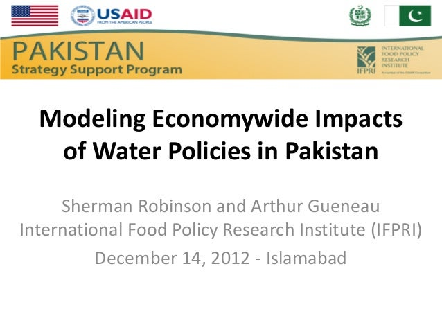 Modeling Economywide Impacts   of Water Policies in Pakistan     Sherman Robinson and Arthur GueneauInternational Food Pol...