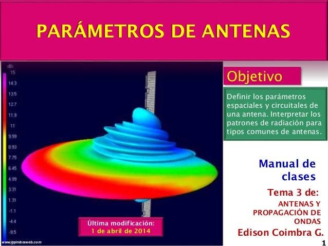 PARÁMETROS DE ANTENAS 1www.coimbraweb.com Edison Coimbra G. ANTENAS Y PROPAGACIÓN DE ONDAS Tema 3 de: Manual de clases Obj...