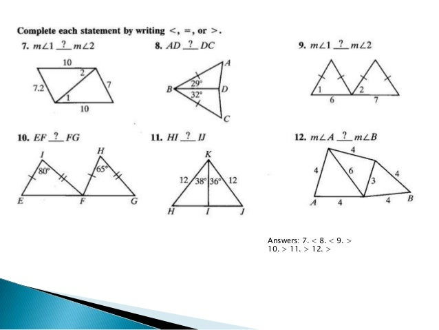 6 5 Inequalities in Two Triangles