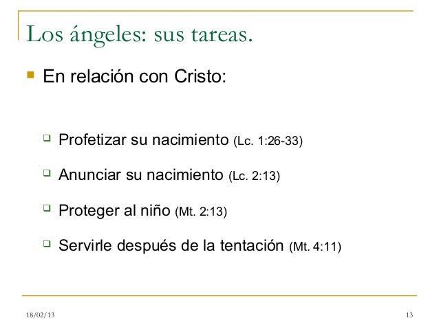 Los ángeles: sus tareas.   En relación con Cristo:          Profetizar su nacimiento (Lc. 1:26-33)          Anunciar su...