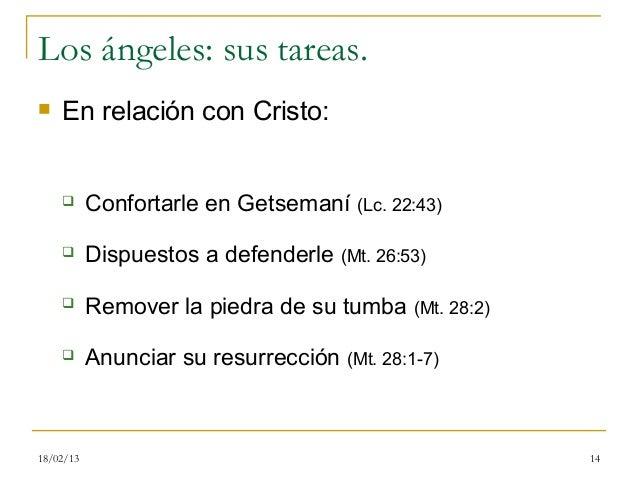 Los ángeles: sus tareas.   En relación con Cristo:          Confortarle en Getsemaní (Lc. 22:43)          Dispuestos a ...