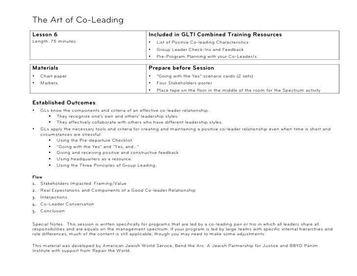 The Art of Co-Leading!Lesson 6                                             Included in GLTI Combined Training ResourcesLen...