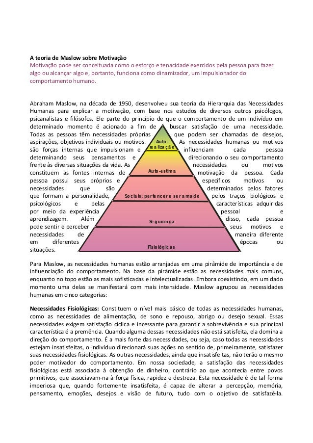 Auto- re a liza çã o Auto-estima Socia is: perte nce r e se r a ma do Se gurança Fisiológic as A teoria de Maslow sobre Mo...