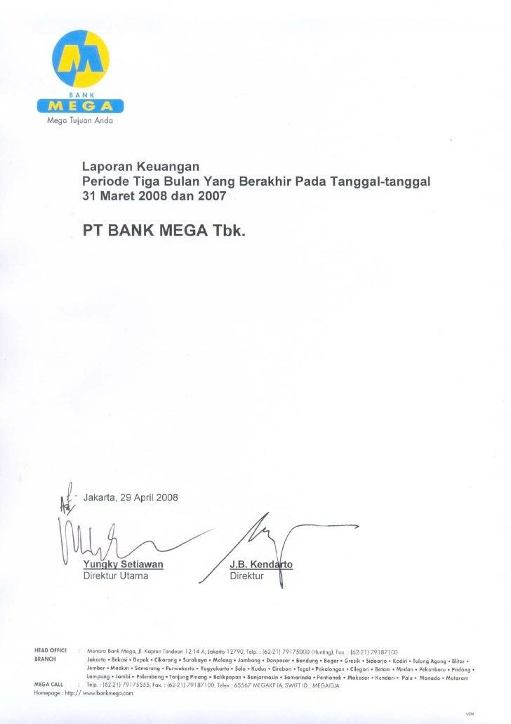 PT BANK MEGA Tbk.                               LAPORAN KEUANGAN            PERIODE TIGA BULAN YANG BERAKHIR PADA TANGGAL-...