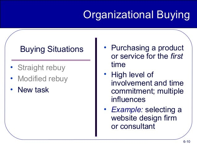 straight rebuy modified rebuy and new task purchase Given the hypothesis that attitudes influence buying behavior, how can a  company bring its products  the straight rebuy, the modified rebuy, and the new  task.