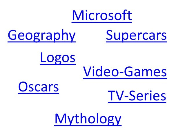 Microsoft Logos Mythology Supercars Oscars Video-Games Geography TV-Series