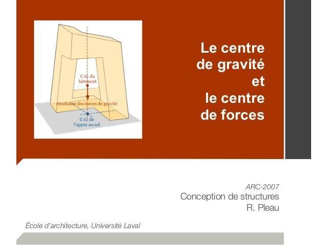 Le centre de gravité et le centre de forces ARC-2007 Conception de structures R. Pleau École d'architecture, Université La...