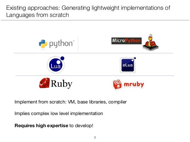 Existing approaches: Generating lightweight implementations of Languages from scratch Implement from scratch: VM, base lib...