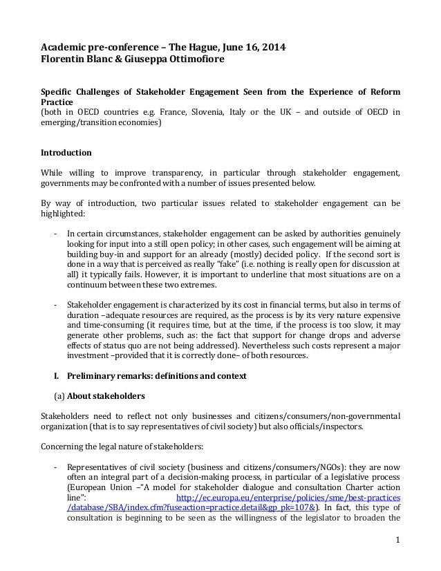 1 Academic pre-conference – The Hague, June 16, 2014 Florentin Blanc & Giuseppa Ottimofiore Specific Challenges of Stakeho...