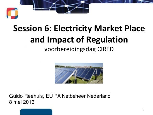 Guido Reehuis, EU PA Netbeheer Nederland8 mei 2013Session 6: Electricity Market Placeand Impact of Regulationvoorbereiding...
