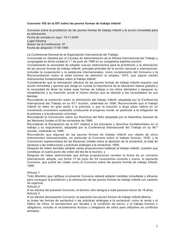 Convenio 182 de la OIT sobre las peores formas de trabajo infantil  Convenio sobre la prohibicion de las peores formas de ...