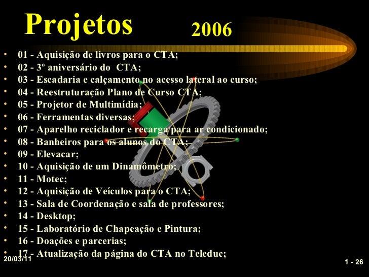 Projetos                              2006•   01 - Aquisição de livros para o CTA;•   02 - 3º aniversário do CTA;•   03 - ...