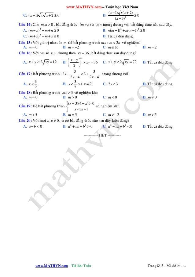 www.MATHVN.com – Toán học Việt Nam www.MATHVN.com – Tài liệu Toán Trang 8/13 - Mã đề thi …. C. ( 1) 2 0x x x− + ≥ D. 2 ( 1...