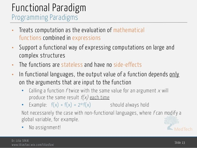 MedTech Functional Paradigm • Treats computation as the evaluation of mathematical functions combined in expressions • Sup...