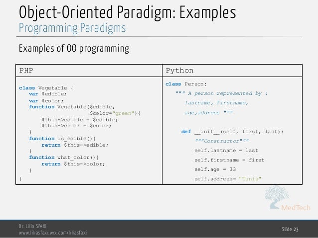MedTech Object-Oriented Paradigm: Examples Examples of OO programming Dr. Lilia SFAXI www.liliasfaxi.wix.com/liliasfaxi Sl...