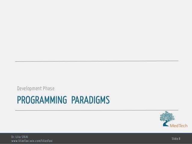 MedTech PROGRAMMING PARADIGMS Development Phase Dr. Lilia SFAXI www.liliasfaxi.wix.com/liliasfaxi Slide 8