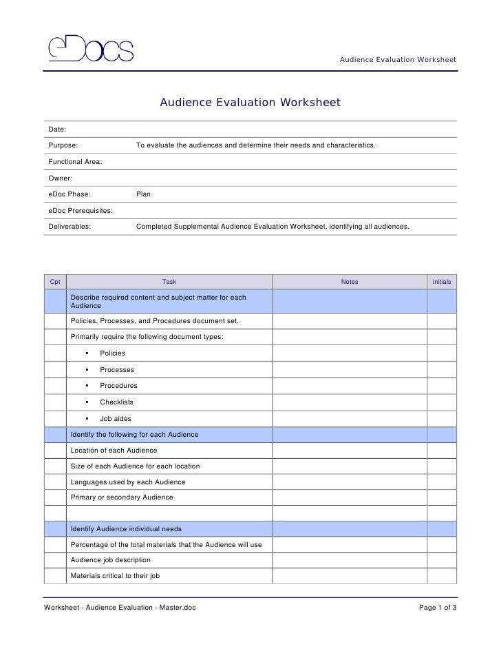 6. eDocumentation Process Selection of Worksheets