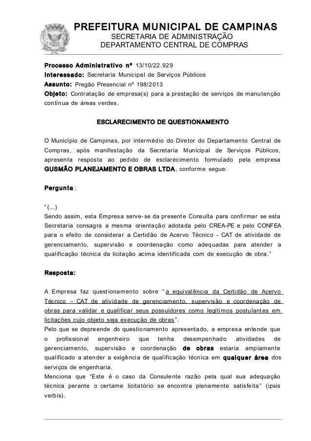 PREFEITURA MUNICIPAL DE CAMPINAS SECRETARIA DE ADMINISTRAÇÃO DEPARTAMENTO CENTRAL DE COMPRAS Processo Administ ra tivo nº ...