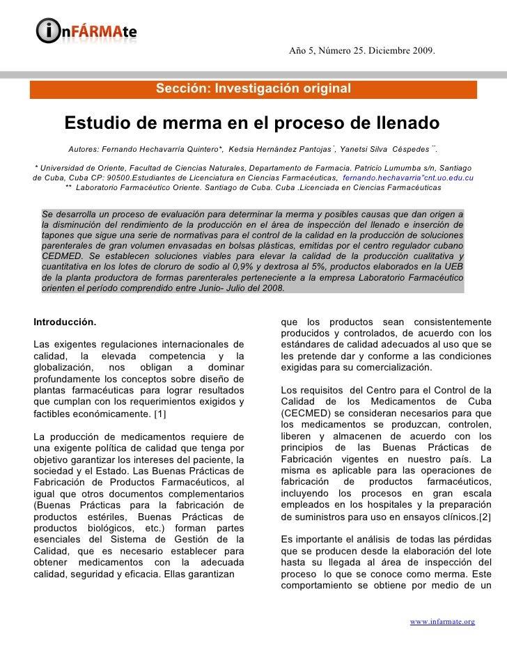 Año 5, Número 25. Diciembre 2009.                                  Sección: Investigación original          Estudio de mer...
