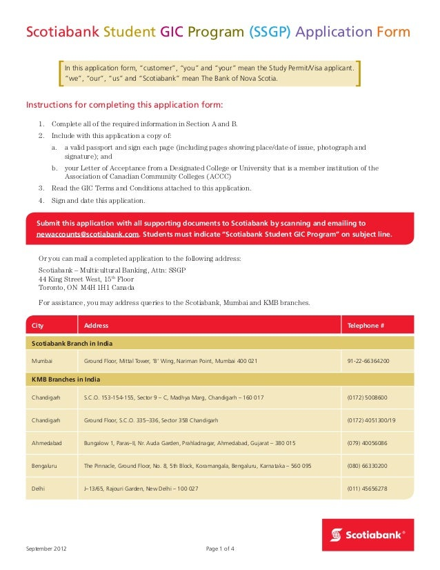 pures college of technology gic application form scotiabank rh slideshare net