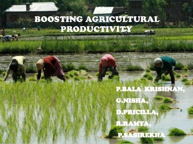 BOOSTING AGRICULTURAL PRODUCTIVITY P.BALA KRISHNAN, G.NISHA, D.PRICILLA, R.RAMYA, P.SASIREKHA