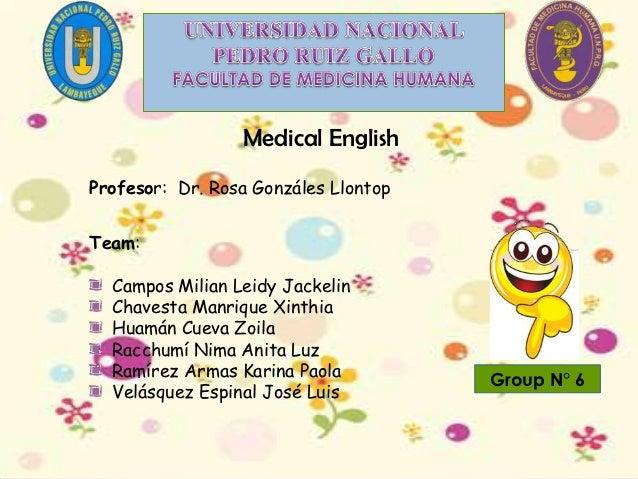 Medical EnglishProfesor: Dr. Rosa Gonzáles LlontopTeam:  Campos Milian Leidy Jackelin  Chavesta Manrique Xinthia  Huamán C...
