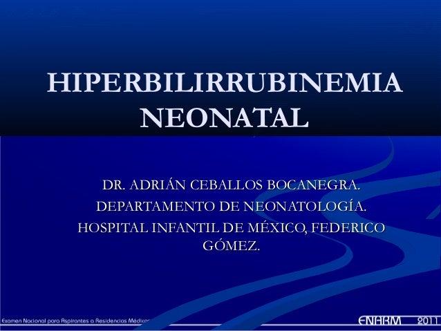 HIPERBILIRRUBINEMIA     NEONATAL    DR. ADRIÁN CEBALLOS BOCANEGRA.   DEPARTAMENTO DE NEONATOLOGÍA. HOSPITAL INFANTIL DE MÉ...