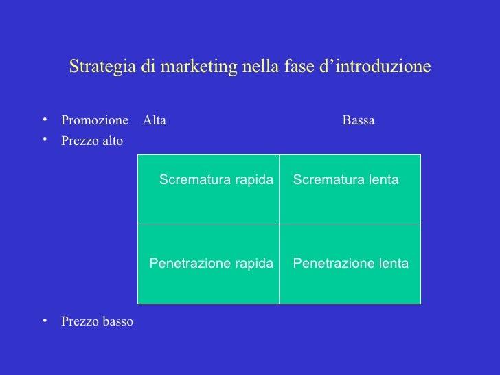 Strategia di marketing nella fase d'introduzione <ul><li>Promozione  Alta Bassa </li></ul><ul><li>Prezzo alto </li></ul><u...