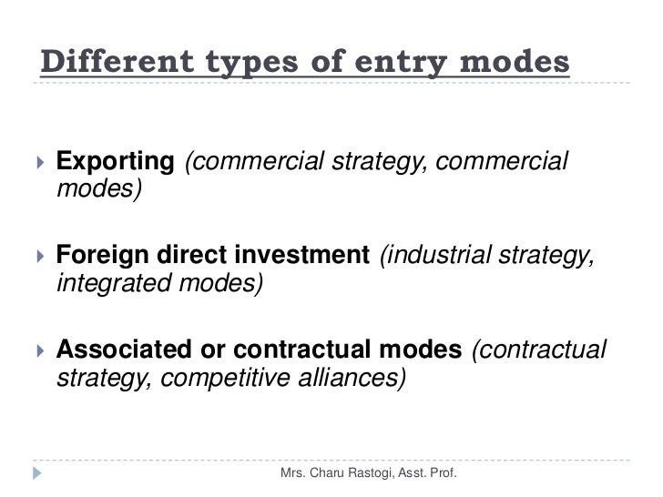 market selection and entry mode This paper employs a four-stage game to analyze the effect of an mne's adoption of management delegation on firms' behaviors, including the decisions of entry mode, technology transfer and output, in a host market competition.