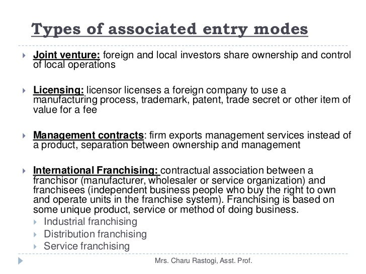 modes of entry for international markets The aim of this article is to investigate the choice of entry modes for international markets in a control perspective a survey from the confederation of danish industry with 234 danish small- and medium sized enterprises served as a data base the entry modes are categorized into three groups depending on the control.