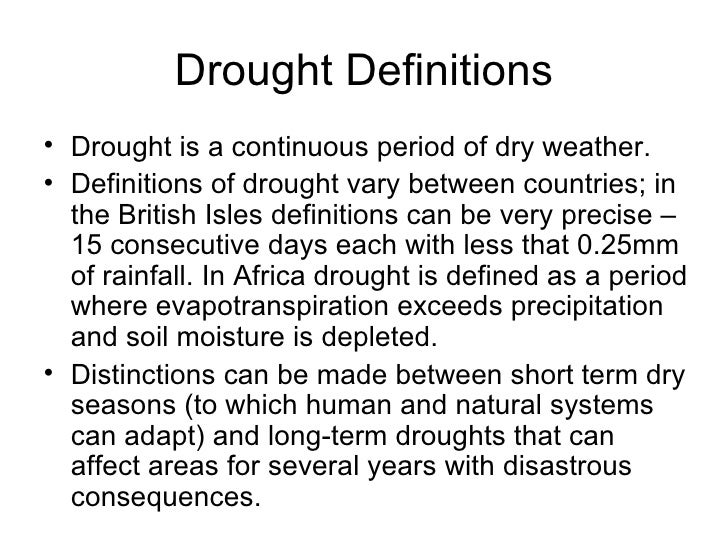 introduction to drought drought definitions