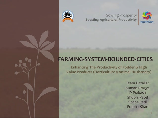 Enhancing The Productivity of Fodder & High Value Products (Horticulture &Animal Husbandry) 1 FARMING-SYSTEM-BOUNDED-CITIE...