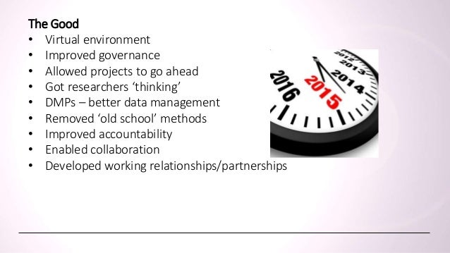 What have we learntThe Good • Virtual environment • Improved governance • Allowed projects to go ahead • Got researchers '...