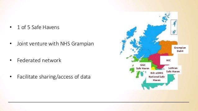 • 1 of 5 Safe Havens • Joint venture with NHS Grampian • Federated network • Facilitate sharing/access of data Grampian Da...