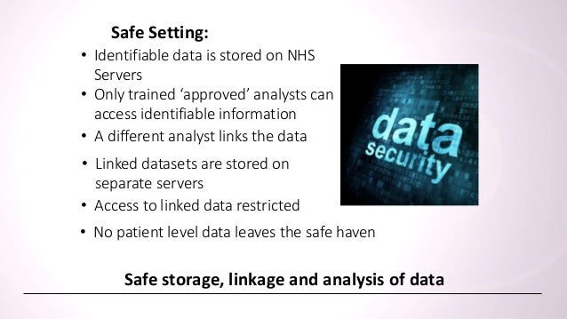 • Researchers cannot access patient identifiers • No patient level data leaves the safe haven Access to linked data for ap...