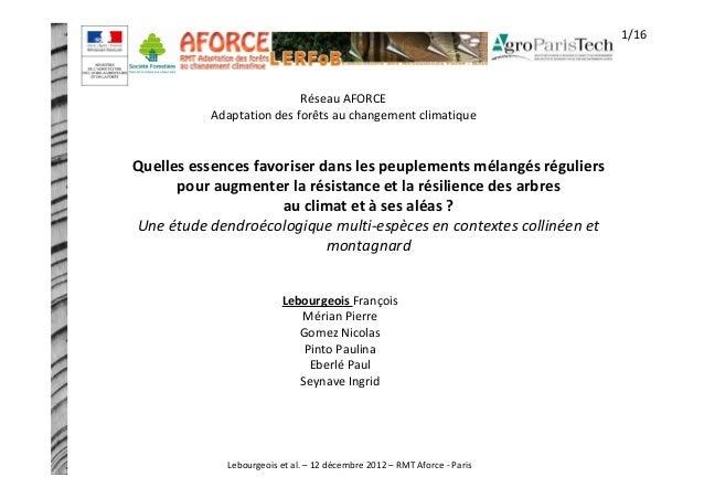 Réseau AFORCE  Adaptation des forêts au changement climatique  Quelles essences favoriser dans les peuplements mélangés ré...