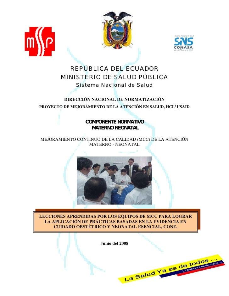 REPÚBLICA DEL ECUADOR        MINISTERIO DE SALUD PÚBLICA              Sistema Nacional de Salud          DIRECCIÓN NACIONA...