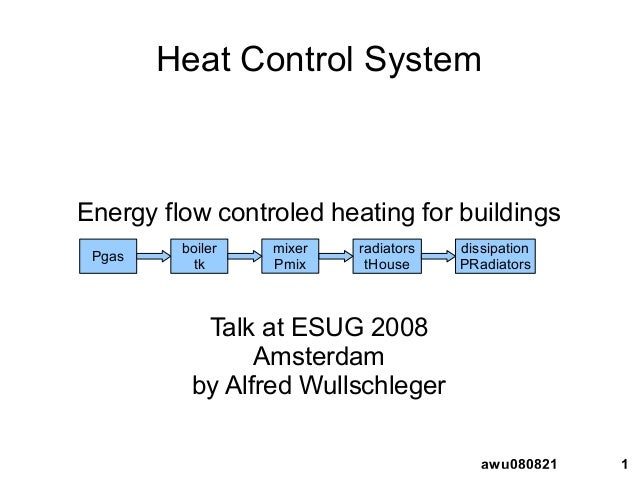 1awu080821 Heat Control System Energy flow controled heating for buildings Talk at ESUG 2008 Amsterdam by Alfred Wullschle...