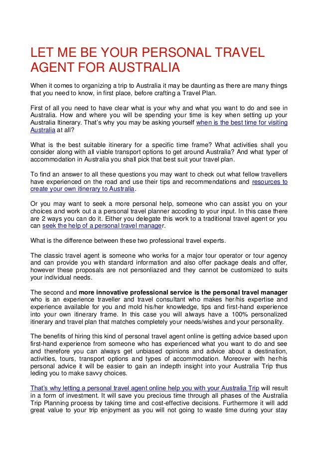 Let Me Be Your Personal Travel Agent For Australia