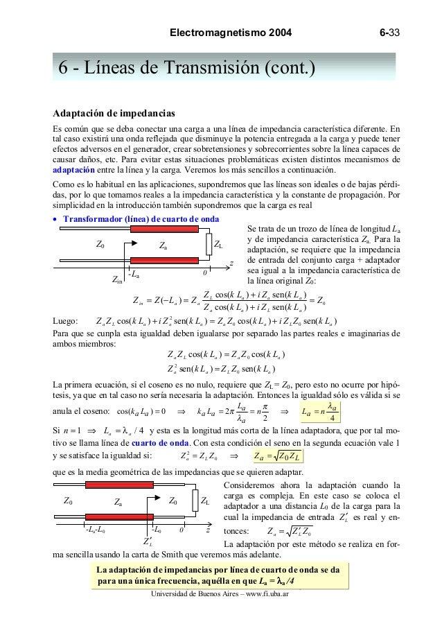 Electromagnetismo 2004                                            6-33 6 - Líneas de Transmisión (cont.)Adaptación de impe...