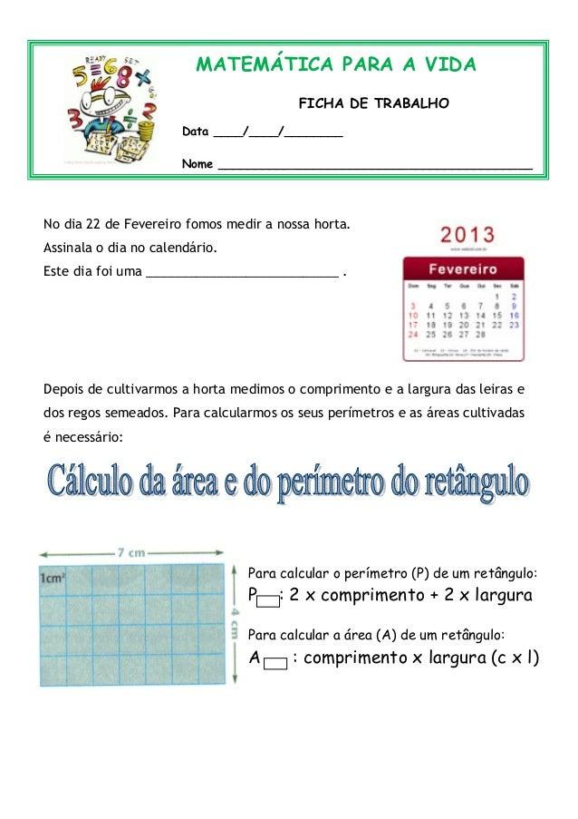 MATEMÁTICA PARA A VIDA                                        FICHA DE TRABALHO                      Data ____/____/______...