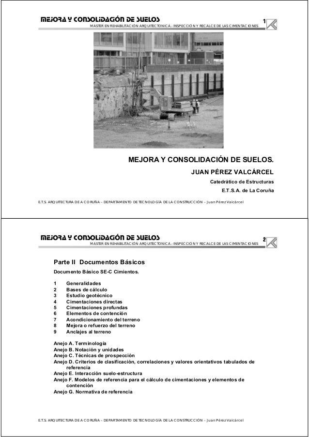 1 MASTER EN REHABILITACIÓN ARQUITECTONICA.- INSPECCIÓN Y RECALCE DE LAS CIMENTACIONES E.T.S. ARQUITECTURA DE A CORUÑA – DE...