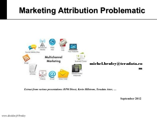 Marketing Attribution Problematic  michel.bruley@teradata.co m  Extract from various presentations: RPM Direct, Kevin Hill...